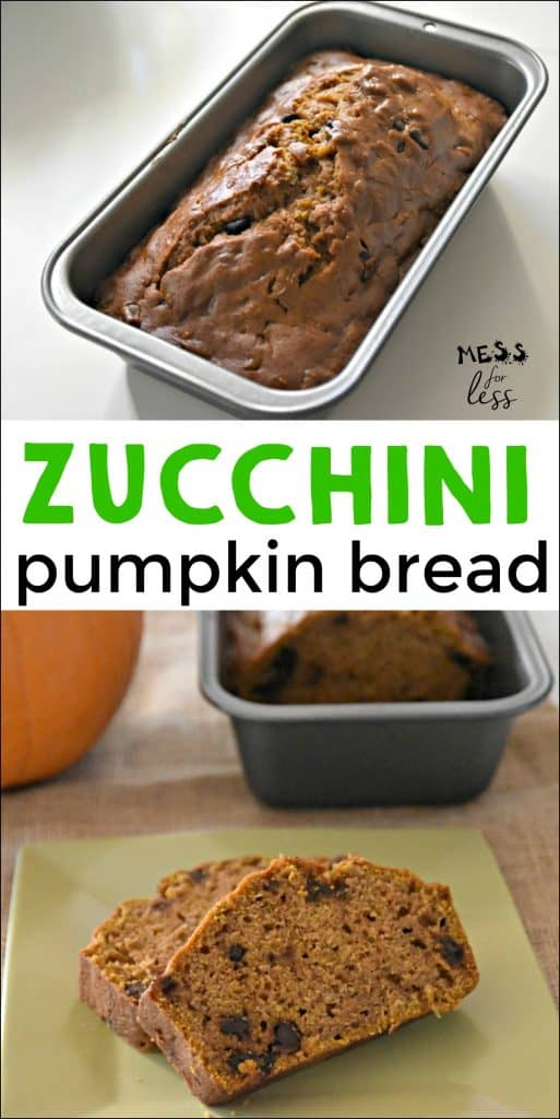 This recipe for Zucchini Pumpkin Bread makes a great breakfast or snack. The zucchini adds moisture and healthy veggies to the bread. #zucchinibread #pumpkinbread