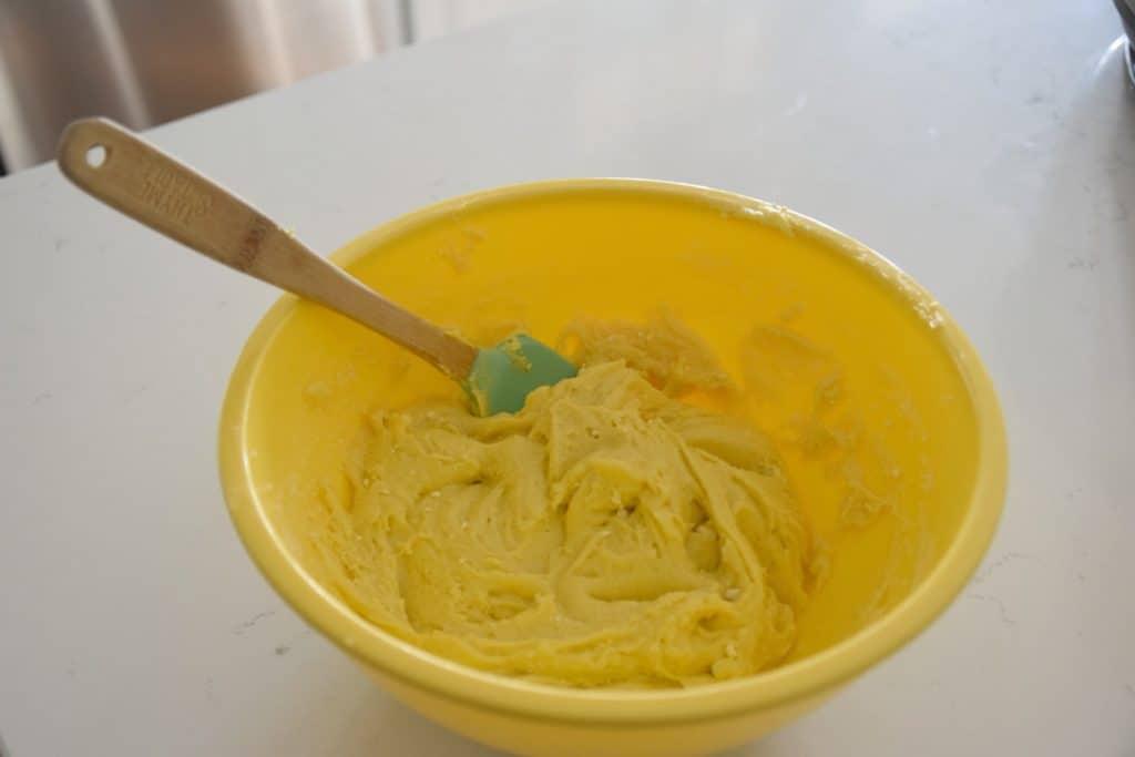 lemon cookie batter in a bowl