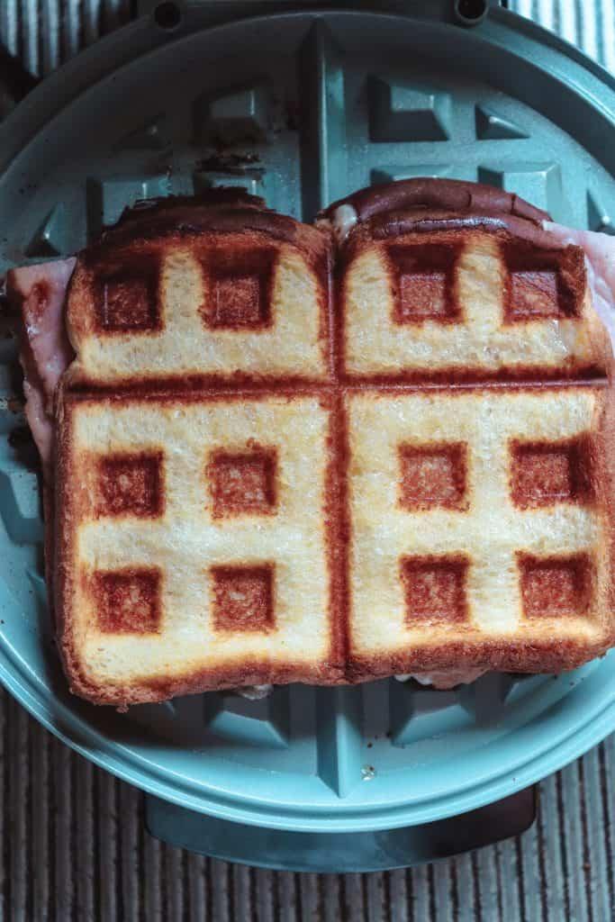sandwich on a waffle maker