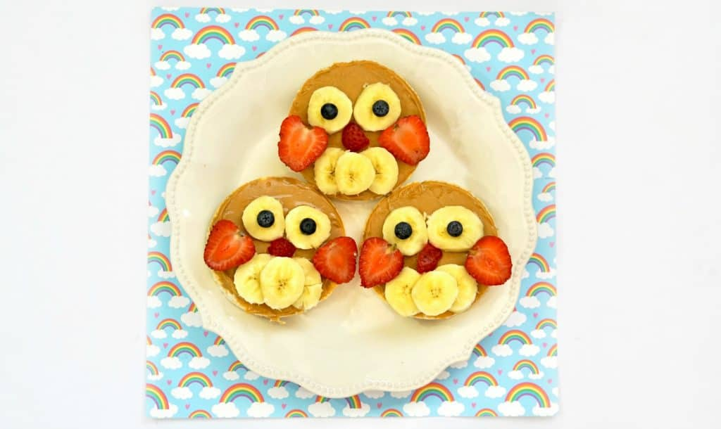 rice cake owls on white plate