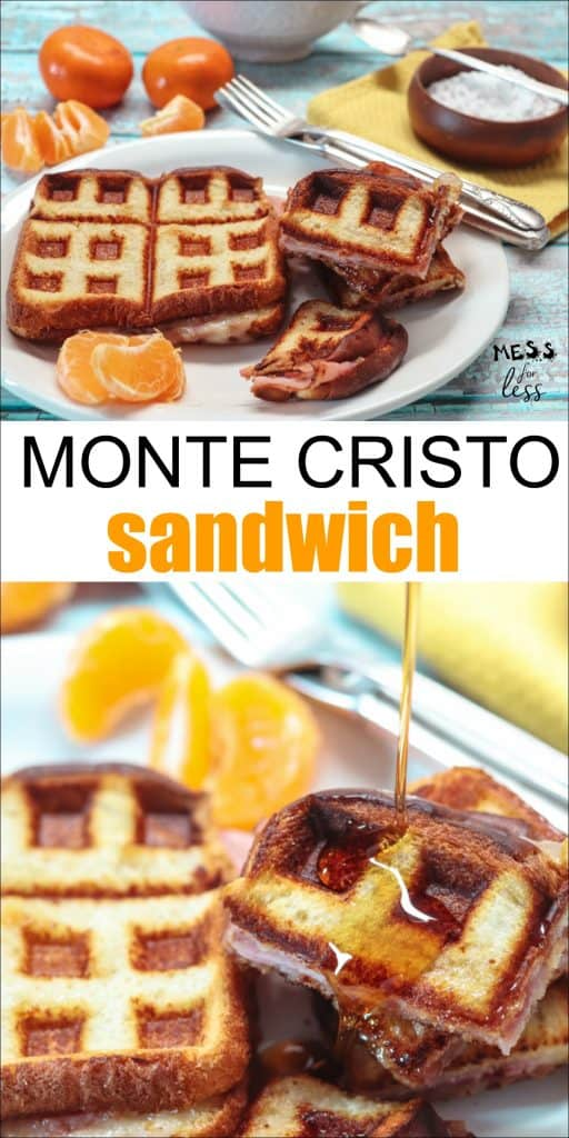 Do you love a Monte Cristo Sandwich but don't like all the work that goes into making one. Try this easy Monte Cristo from Mess for Less. So good! #montecristorecipe #sandwichrecipe #montecristosandwich