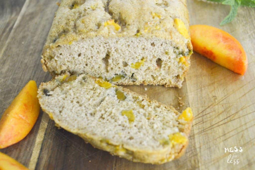 sliced peach bread