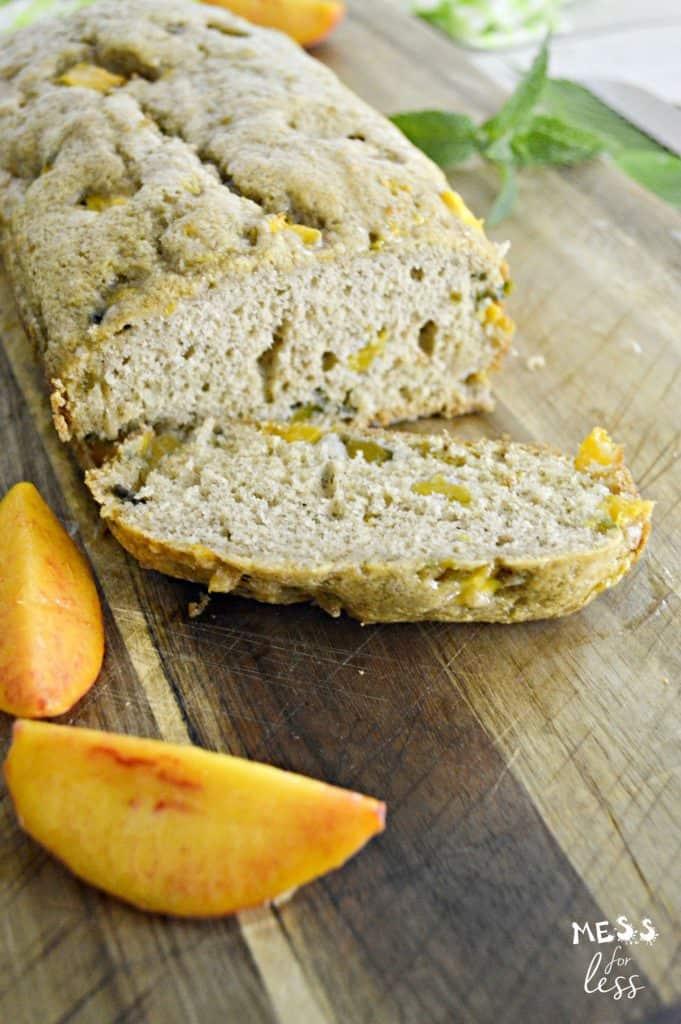 sliced peach bread and peaches