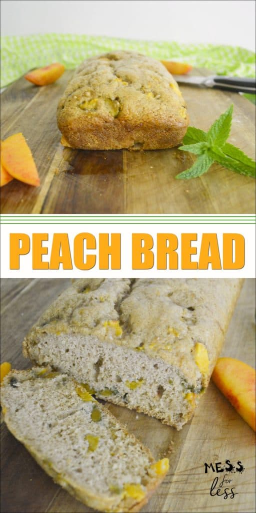 Whether it is peach season or any time of the year, I find myself craving this delicious fruit. If you love peaches also, then you need to try this Peach Bread Recipe. It has all the yummy flavor you expect from peaches, in a moist and sweet bread. It makes a great snack or breakfast. #peachbread #breadrecipe