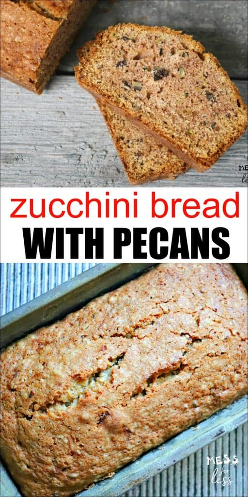 This Zucchini Pecan Bread is a perfect recipe to make with kids. It is yummy and made with good-for-you zucchini and pecans. If you've made plain zucchini bread in the past, the addition of pecans really takes it to the next level. #zucchinibread #zucchinibreadrecipe