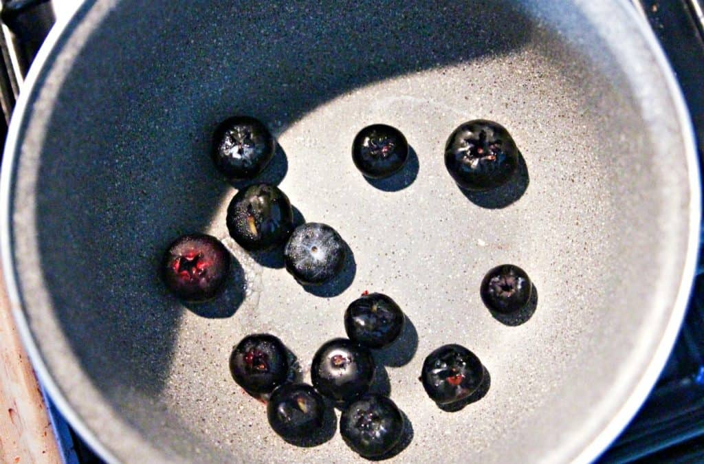blueberries in a pan