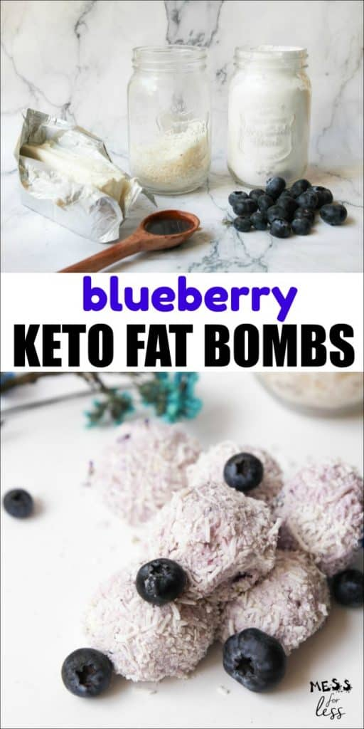This Blueberry Keto Fat Bomb recipe from Mess for Less is great for a low carb diet. This tasty snack will keep you satisfied while on keto. You'll love these fat bombs! #fatbombs #fatbombrecipe #keto #ketorecipe