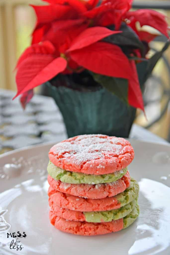 Stack of Christmas cake mix cookies