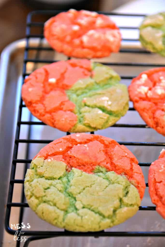 Christmas cookies on a baking rack