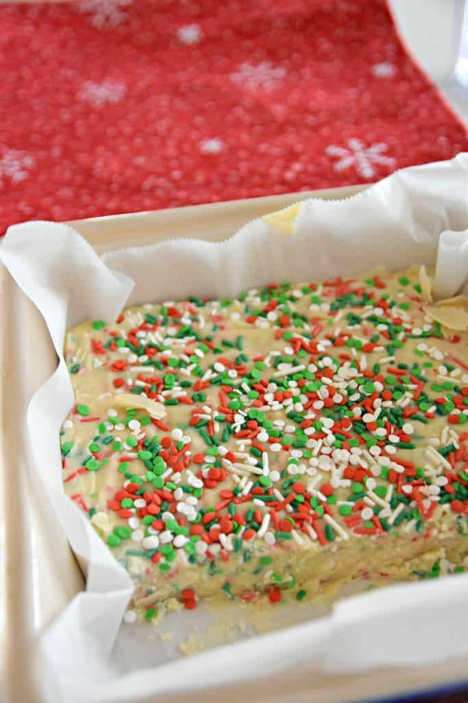 Christmas fudge in a pan