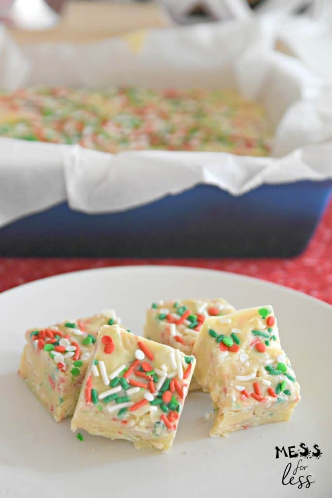 red and green sprinkle fudge