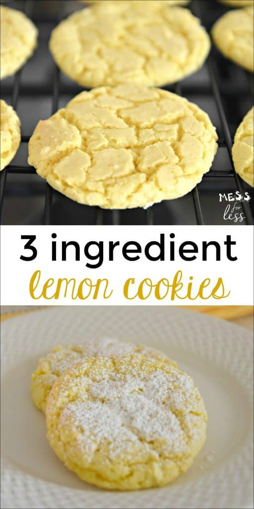 These Lemon Cake Mix Cookies are made with just 3 ingredients! They could not be easier and are so lemony and delicious! #lemoncookies #cakemixcookies #3ingredientcookies