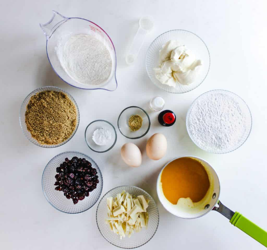 ingredients for cranberry bliss bars