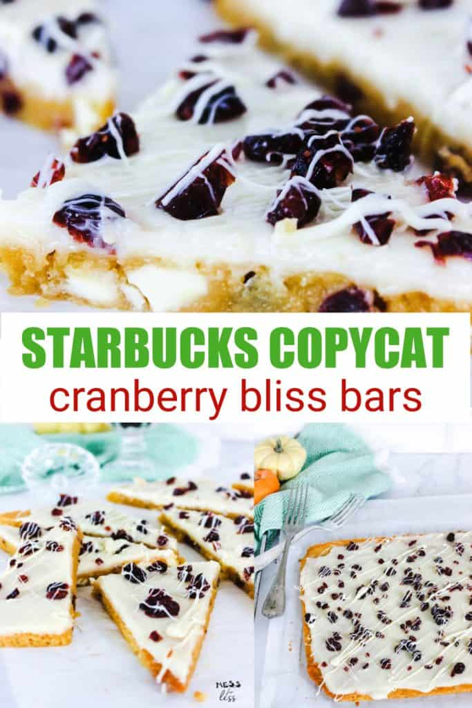 Have you ever had the Cranberry Bliss Bars at Starbucks? They are so addicting with chunks of white chocolate, frosting and craisins. You can make this Cranberry Bliss Bars Recipe (Starbucks Copycat) at home. Bring on the yum! #cranberryblissbars #starbuckscopycat #starbuckscranberryblissbars