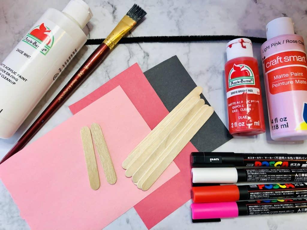 popsicle sticks construction paper paint