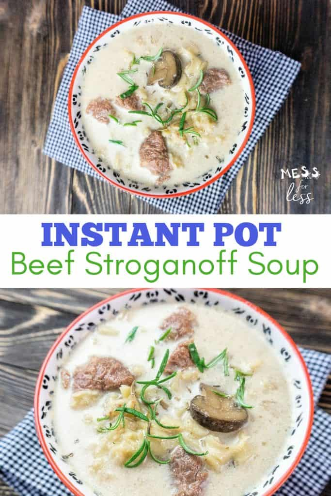 This Instant Pot Beef Stroganoff Soup is made with tender beef, mushrooms, and noodles in a creamy sauce. Just 30 minutes in the Instant Pot. #instantpot #instantpotsoup #beefstroganoff