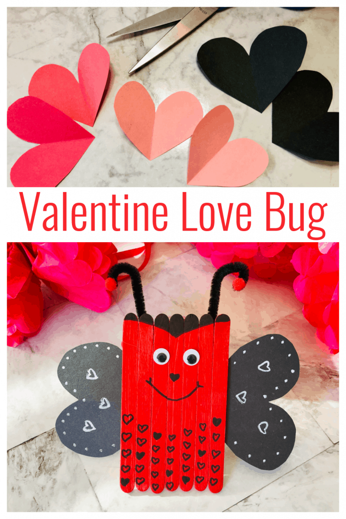 This Love Bug Valentine's Craft is a whimsical way to share the love! Such a fun Valentine's craft to do with kids! #valentinescraft #kidsactivities