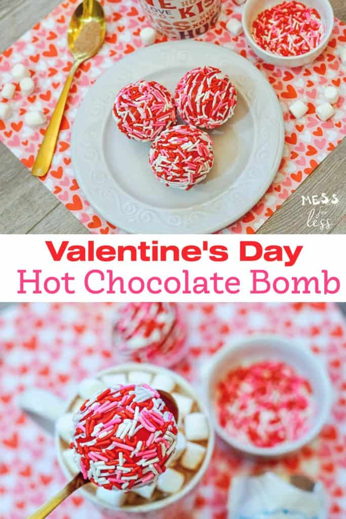 Celebrate Valentine's day with these Valentine's Day Hot chocolate bombs. They are easy to make at home. Give them to someone you love! #valentinesday #hotchocolatebombs #hotcocoabombs