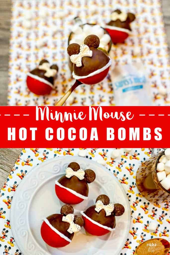 If you are Disney obsessed like me and love a steaming cup of hot chocolate, then you must make these Minnie Mouse Hot Cocoa Bombs. Don't be intimidated, hot chocolate bombs are not as hard to make as they look. This easy tutorial will help you make these adorable hot chocolate bombs. #hotchocolatebombs #hotcocoabombs #minniemouse