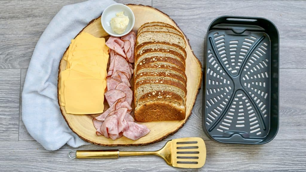 ingredients for a ham and cheese air fryer sandwich