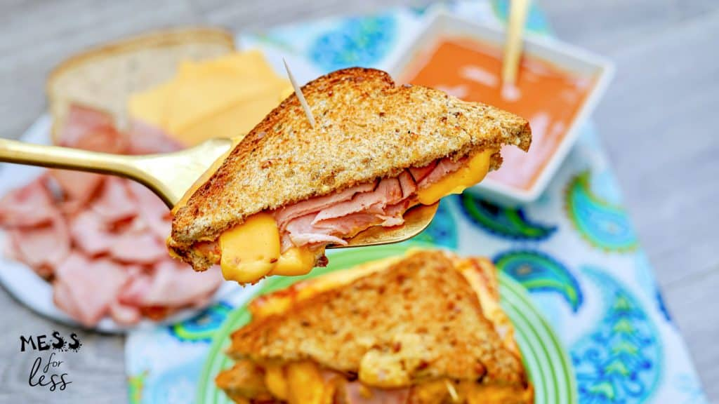 bite of Air Fryer Grilled Ham and Cheese Sandwich
