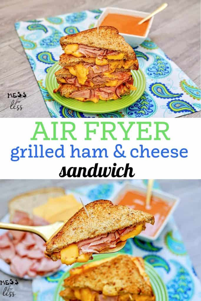 Is there anything more comforting than a grilled ham and cheese sandwich? You can cook a crispy Air Fryer Grilled Ham and Cheese Sandwich in no time flat with this simple recipe. #airfryer #airfryersandwich #hamandcheesesandwich #sandwichrecipe