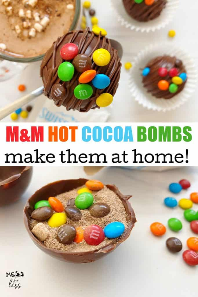 This M&M Hot Chocolate Bomb Recipe from Mess for Less is a fun way to enjoy hot cocoa. Why pay a fortune for hot chocolate bombs when you can make them at home? #hotcocoabomb #hotchcocolatebomb
