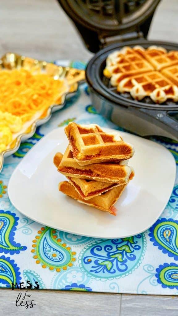 triangles of Waffle Breakfast Sandwich
