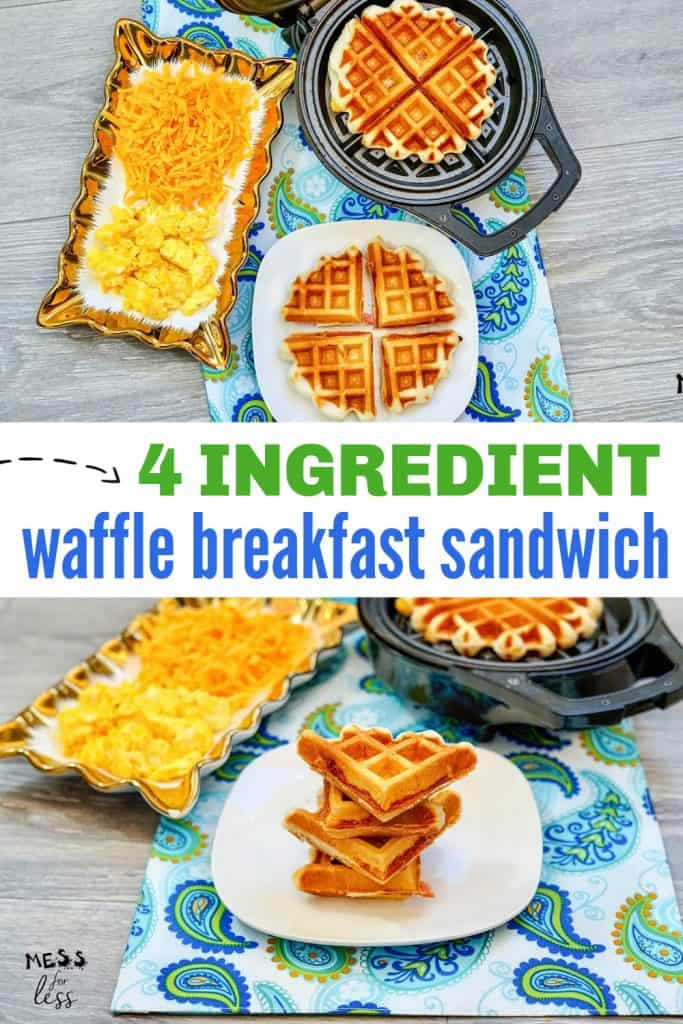 Are you in a breakfast rut? This 4 Ingredient Waffle Breakfast Sandwich is easy to make and so tasty! It will help you get out of your breakfast rut. #wafflebreakfastsandwich #breakfast #breakfastrecipe
