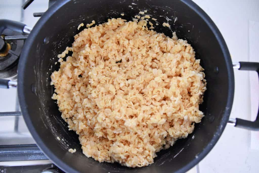 rice krispies and marshmallows in a sauce pan