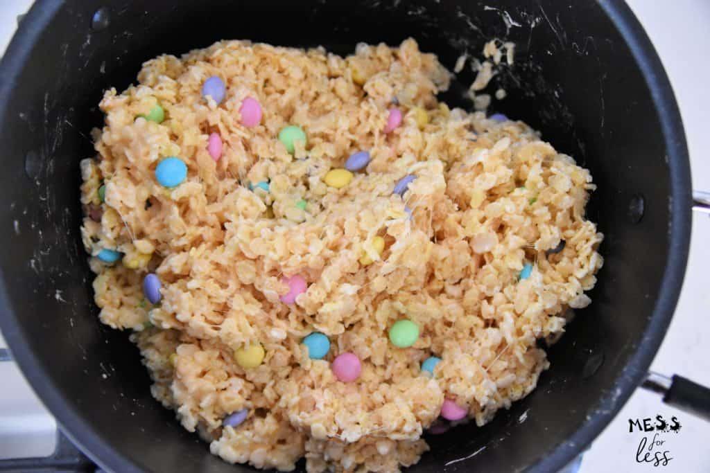 making M&M rice krispie treats