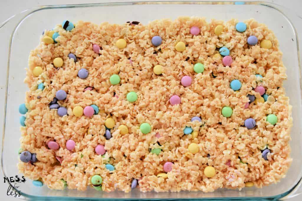 M&M easter rice krispie treats in a pan