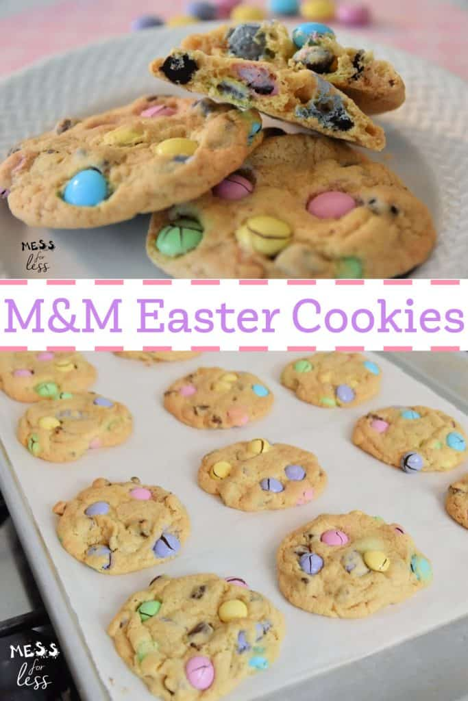 These M&M Easter Cookies from Mess for Less are amazing! Imagine the best chocolate chip cookie you've ever had with added M&Ms! These are great for Easter or spring! #cookies #eastercookies #springcookies #m&mcookies