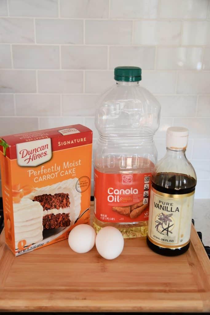 carrot cake mix, canola oil, vanilla, eggs