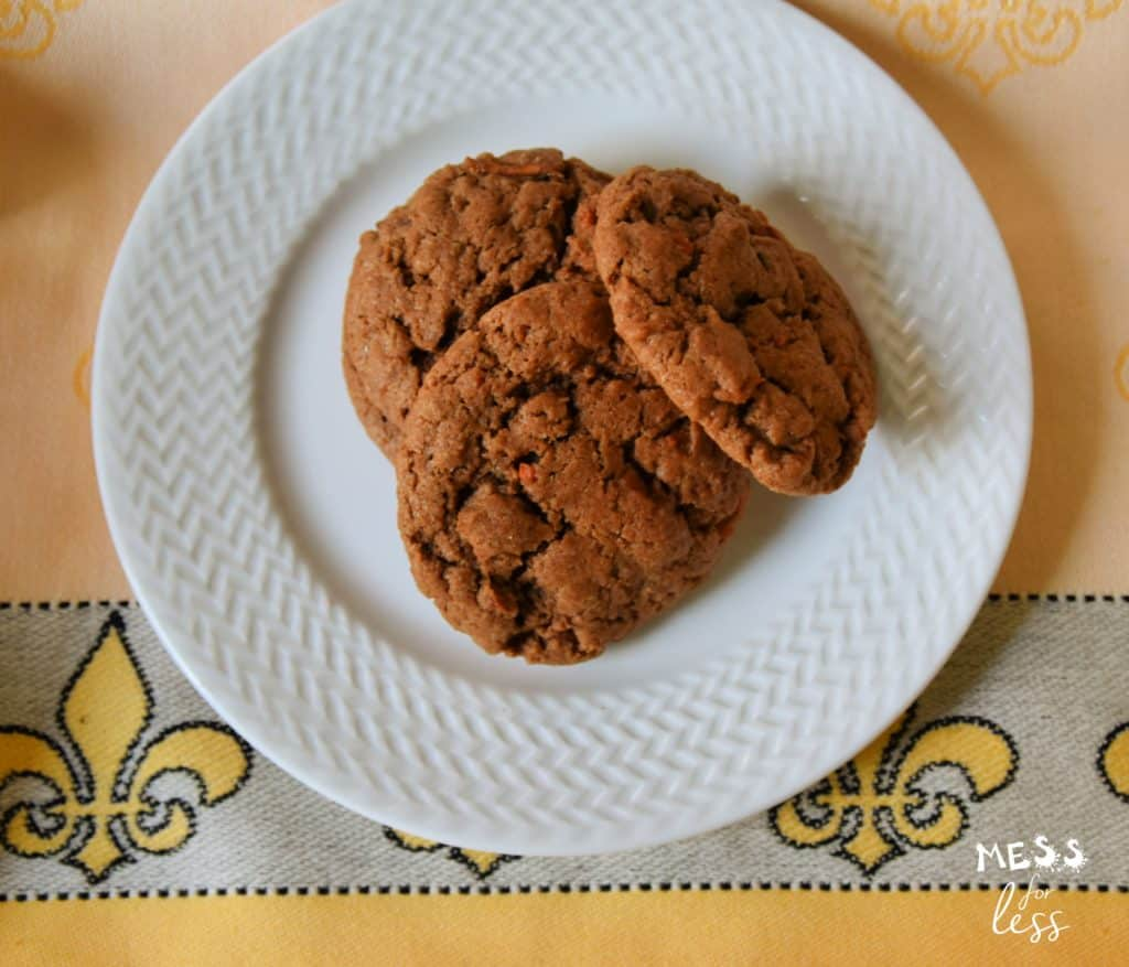 Cake Mix Carrot Cake Cookies on a white plate