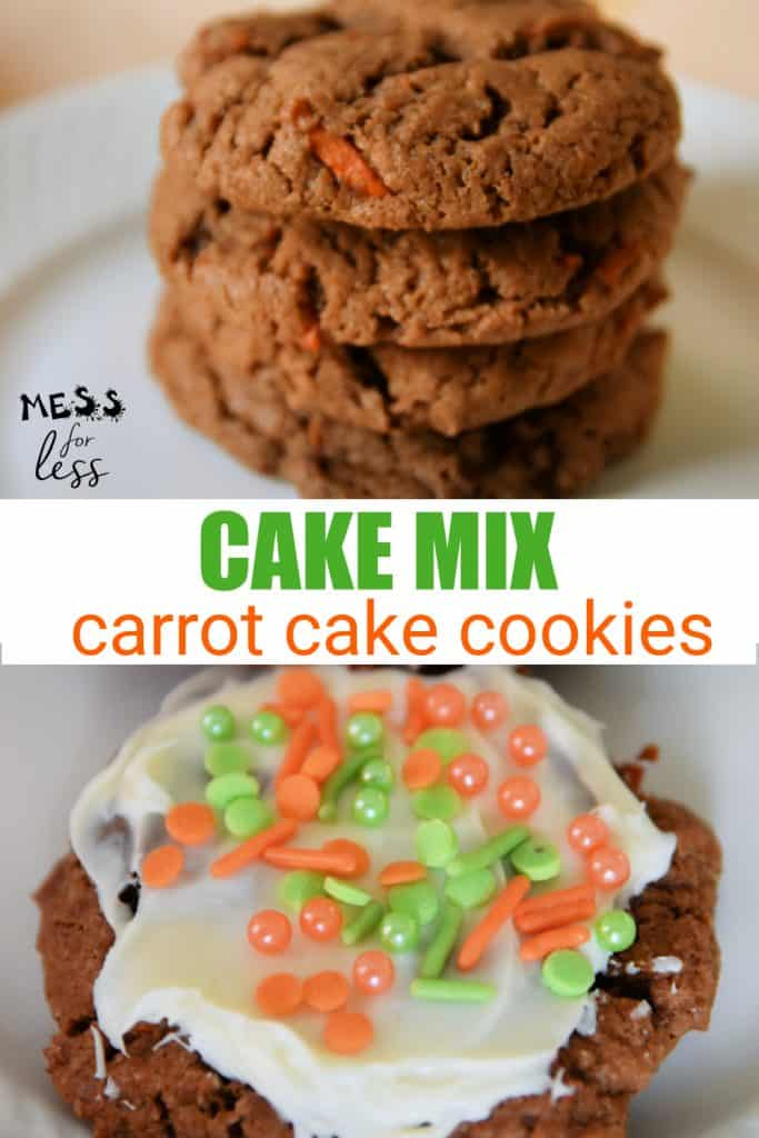 I used one of my favorite supermarket shortcuts to make these Cake Mix Carrot Cake Cookies - cake mix! That's right, you can use cake mix to make delicious, soft and yummy cookies. It is the easiest way to bake cookies. #cookies #cakemixcookies #carrotcake #carrotcakecookies