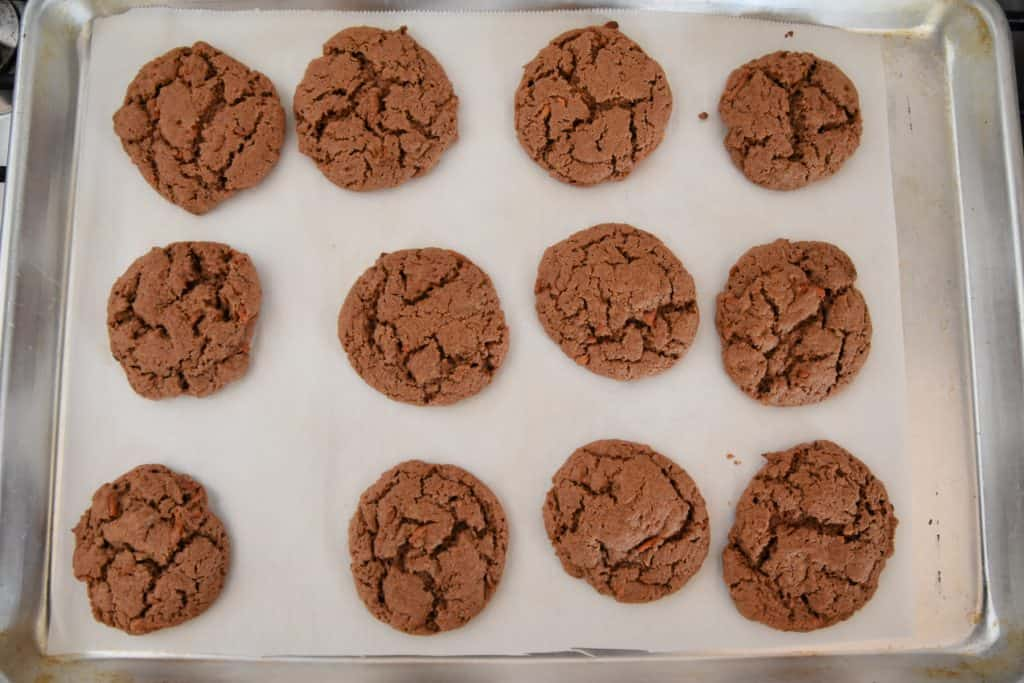 carrot cake cookies on a cookie sheet