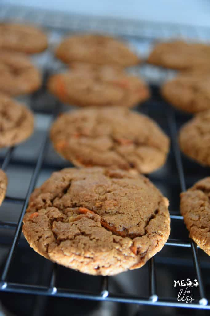 carrot cake cookies on a cooling rack