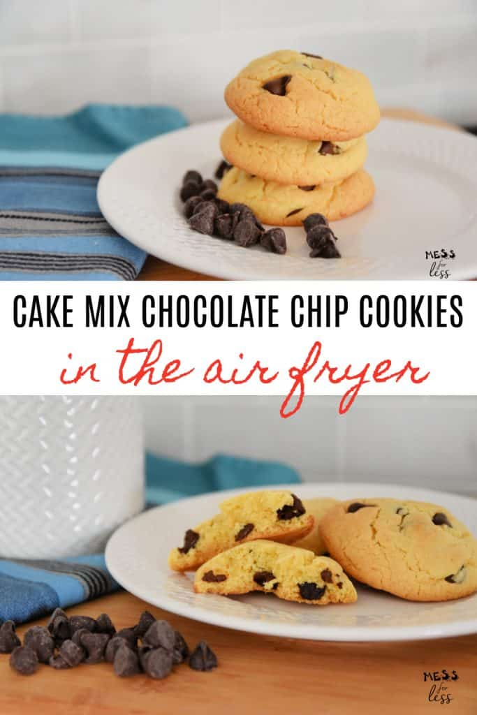 Cake mix cookies are so easy to make and I have made them even easier by cooking them in the air fryer. These Cake Mix Chocolate Chip Cookies in the Air Fryer are soft, easy and delicious! #airfryercookies #cakemixcookies #cakemixchocolatechipcookies