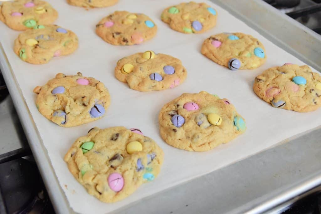 Cooked M&M Easter Cookies on a cookie sheet