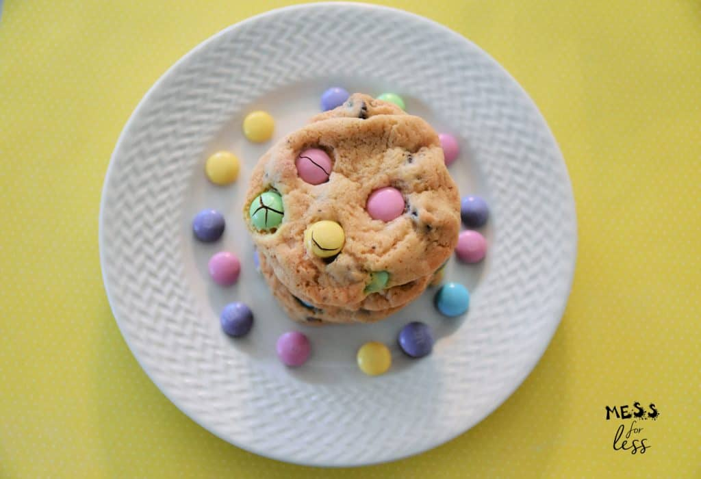 M&M Easter Cookies on a white plate