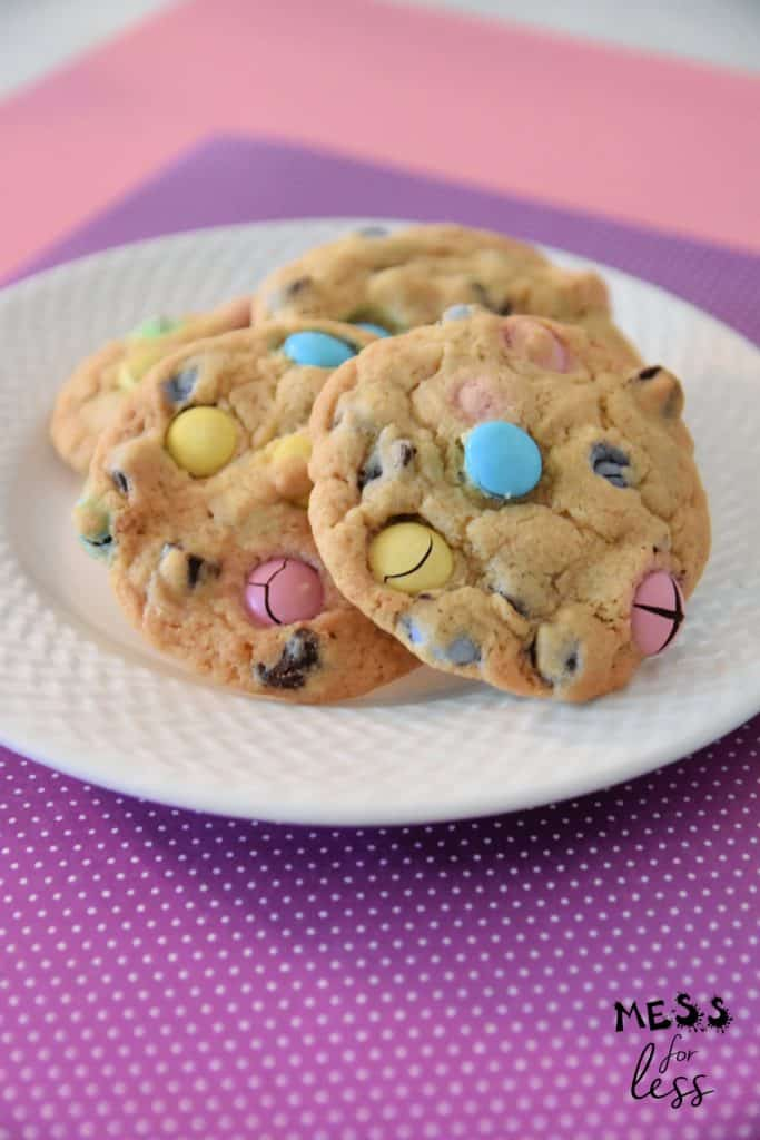 M&M Easter Cookies on a plate