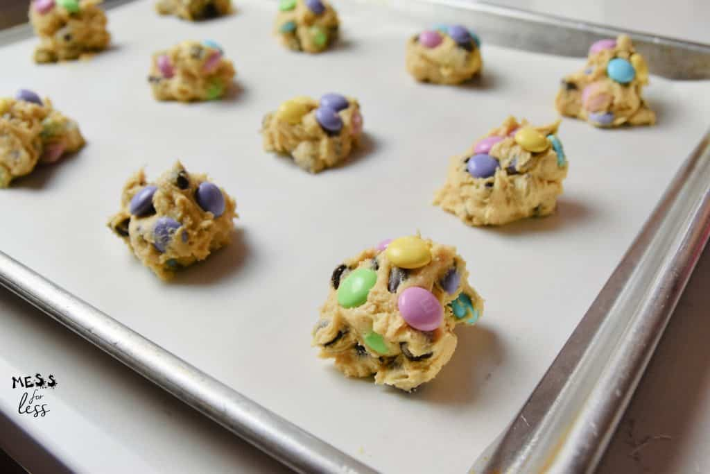 M&M Easter Cookies on a cookie sheet