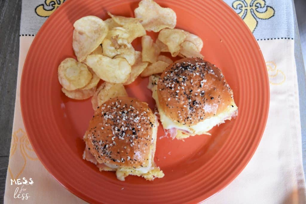 sliders and chips on a plate