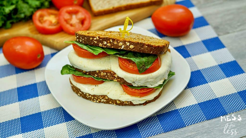 grilled sandwich with mozzarella, tomatoes and basil