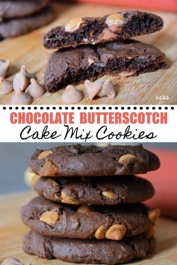 stacked chocolate butterscotch cake mix cookies