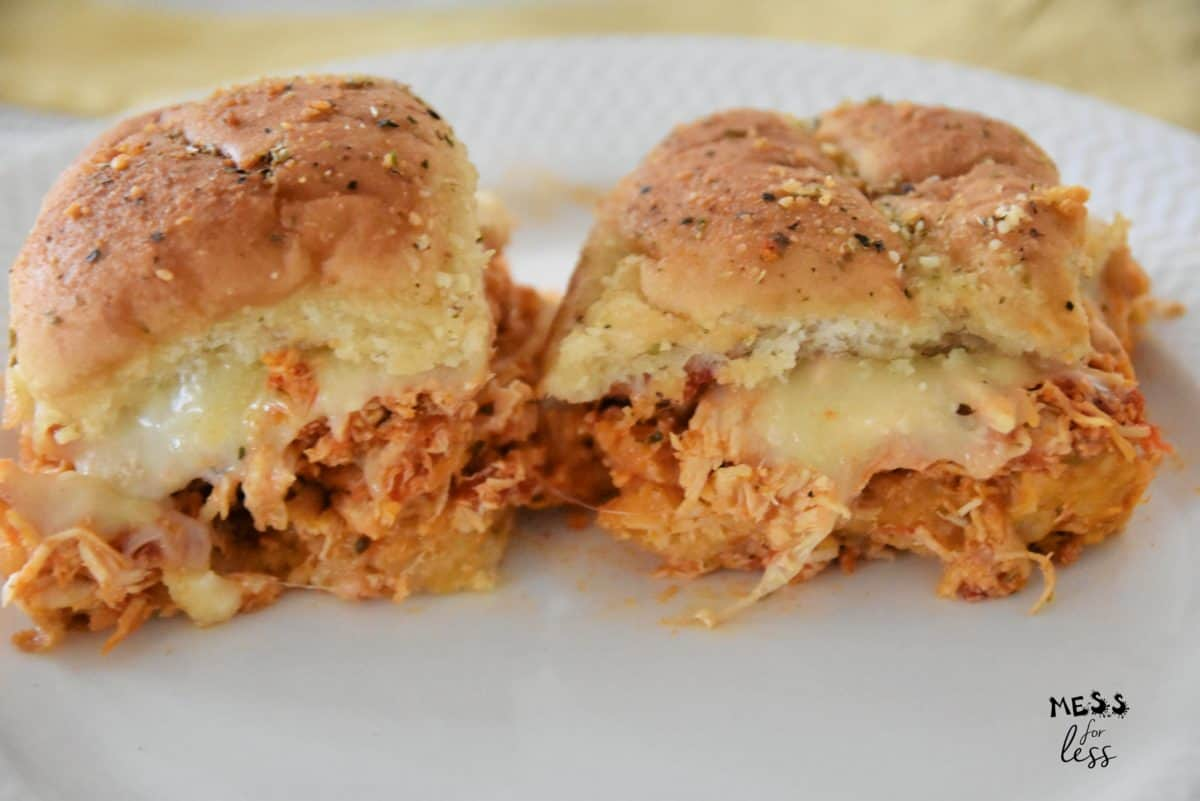 chicken parmesan sliders on a plate