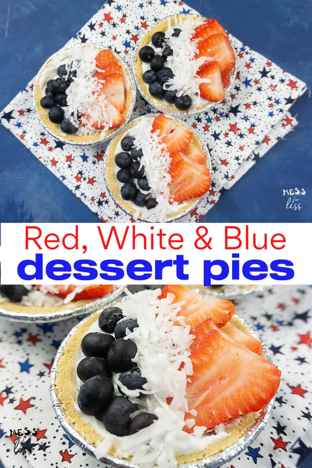 coconut cream berry pies on a star background