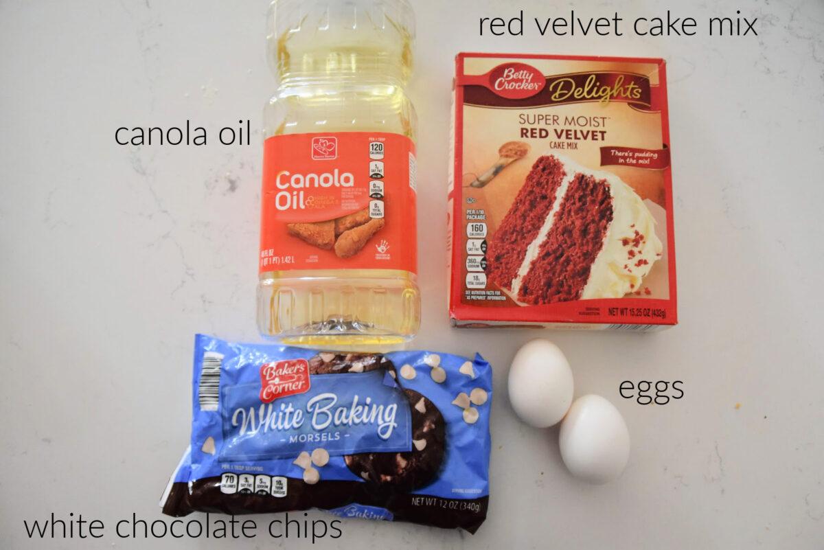 canola oil, red velvet cake mix, eggs, white chocolate chips