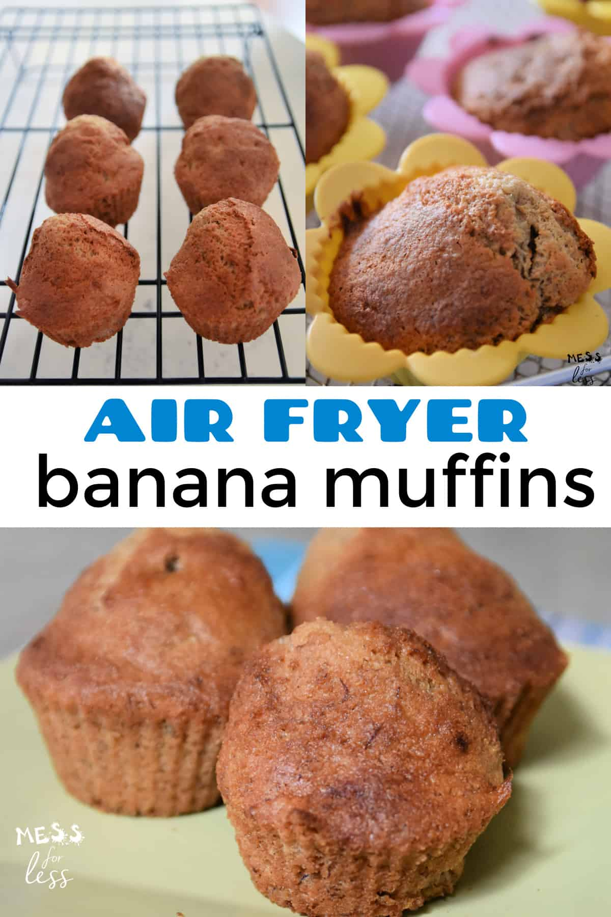 I have been doing lots of air fryer baking so I decided to adapt my favorite banana muffin recipe for the air fryer. The results did not disappoint. These Air Fryer Banana Muffins are moist and delicious and baked in a fraction of the normal time.